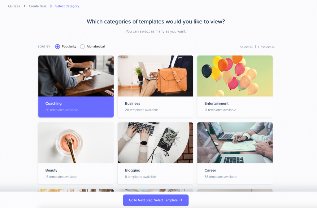 grow your email list using a quiz - Interact categories