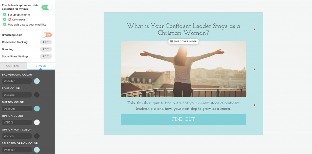 grow your email list using a quiz_customize the look of your Interact Quiz