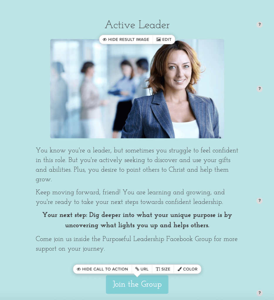 grow your email list using a quiz - create your results
